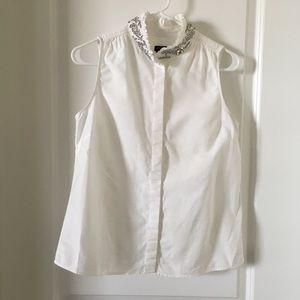 J. Crew White Embellished Blouse Size 4